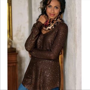 Soft Surroundings | Brown Shimmer Tunic Sweater S